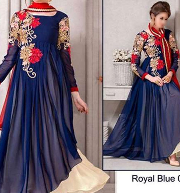 Designer Embroidered Indian Chiffon Frock (CHI-16) Price in Pakistan