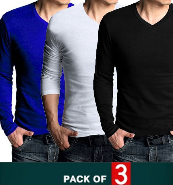 Pack of 3 V-Neck Long Sleeves T-Shirts FREE SHIPPING