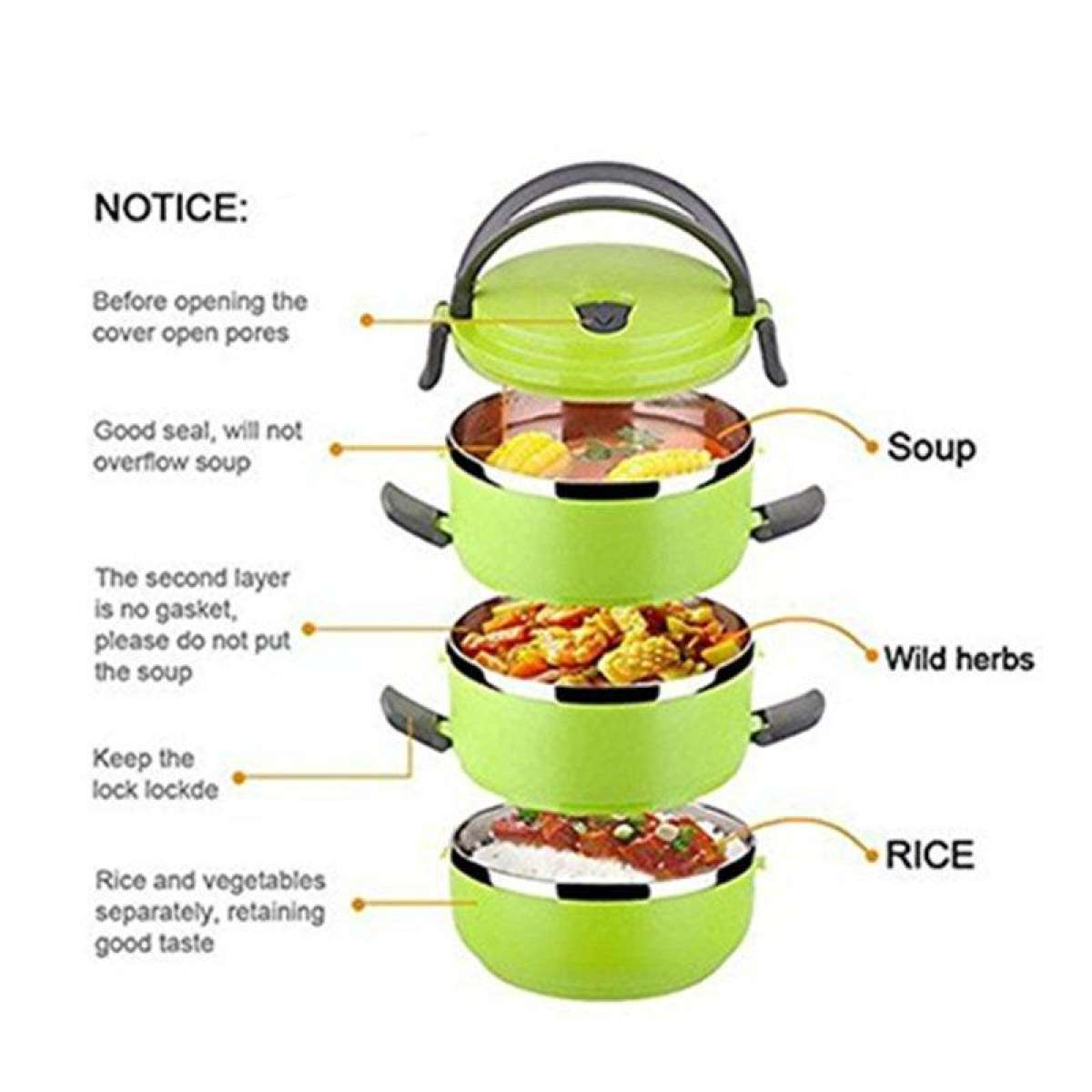 Easy Lock Stainless Steel Lunch Box 3 Layers (LB-03) Gallery Image 1