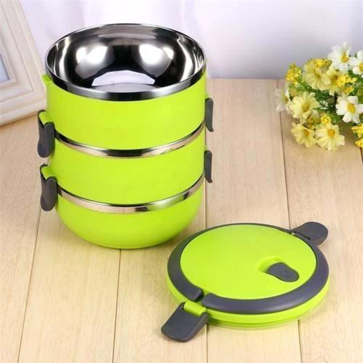 Easy Lock Stainless Steel Lunch Box 3 Layers (LB-03) Gallery Image 2