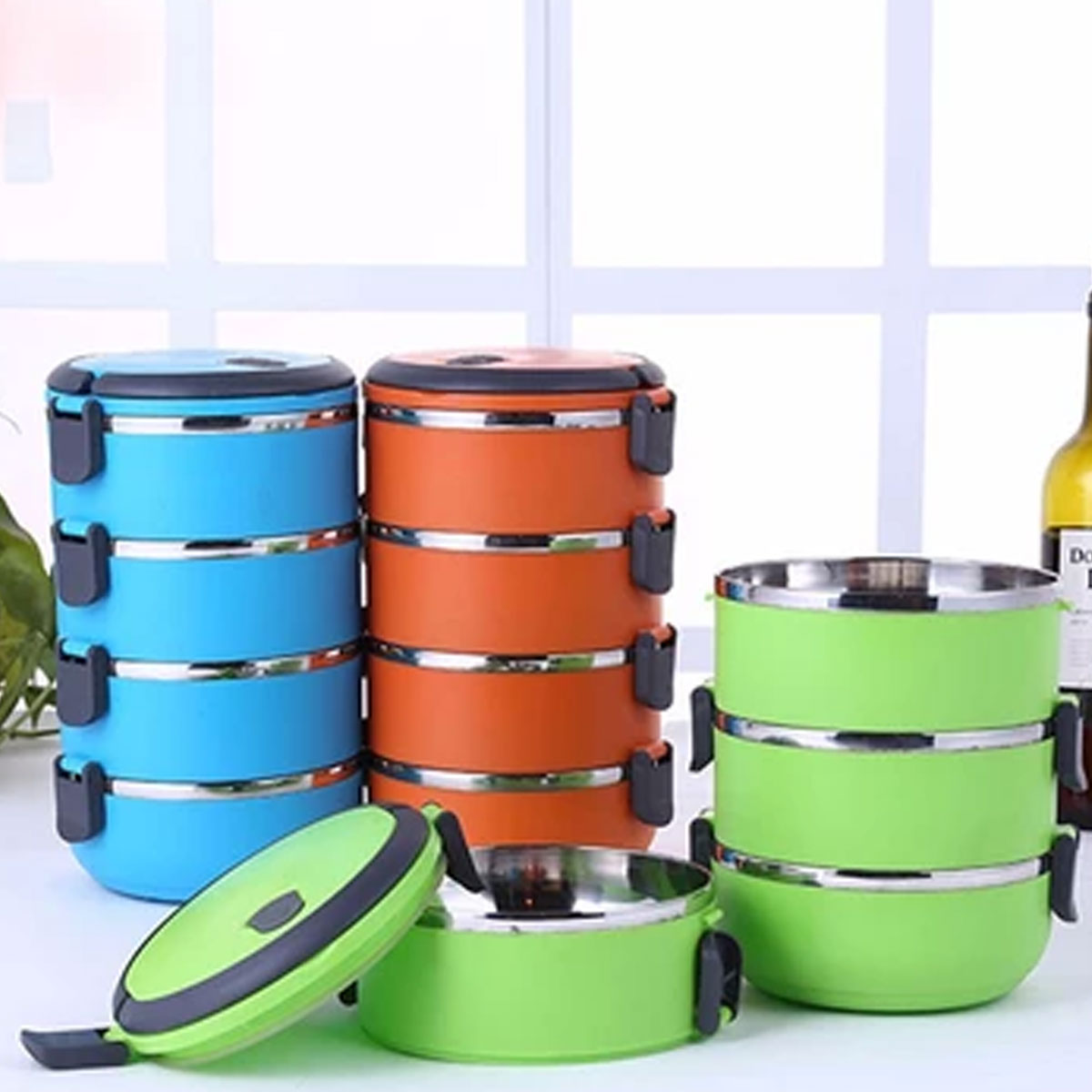 FOUR LAYERS 2800ML STAINLESS STEEL LUNCH box / TIFFIN BOX 4 Layers (LB-04) Gallery Image 1
