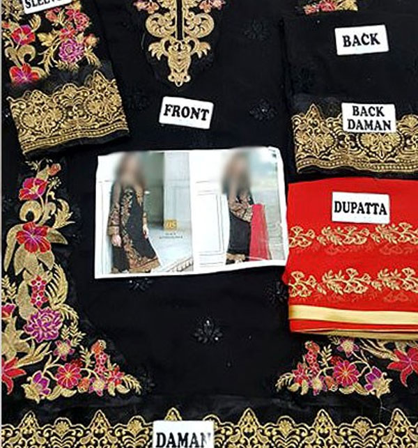 Black Chiffon Embroidered Suit (CHI-29) Gallery Image 1