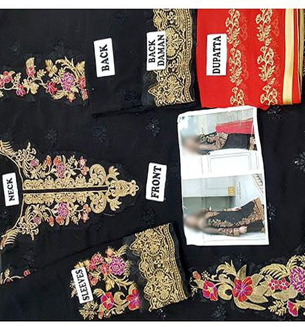 Black Chiffon Embroidered Suit (CHI-29) Gallery Image 2