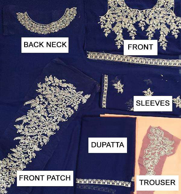 Indian Embroidered Chiffon Frock (Unstitched) (CHI-33) Gallery Image 2