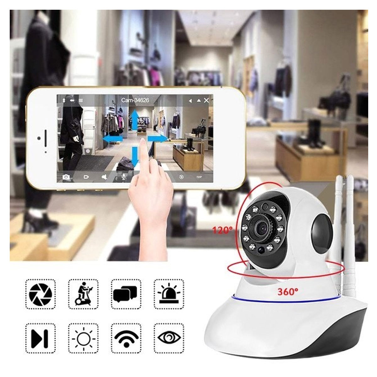 Latest IP Wireless 360 Camera with 2 Antenna 2020 - White  Gallery Image 1