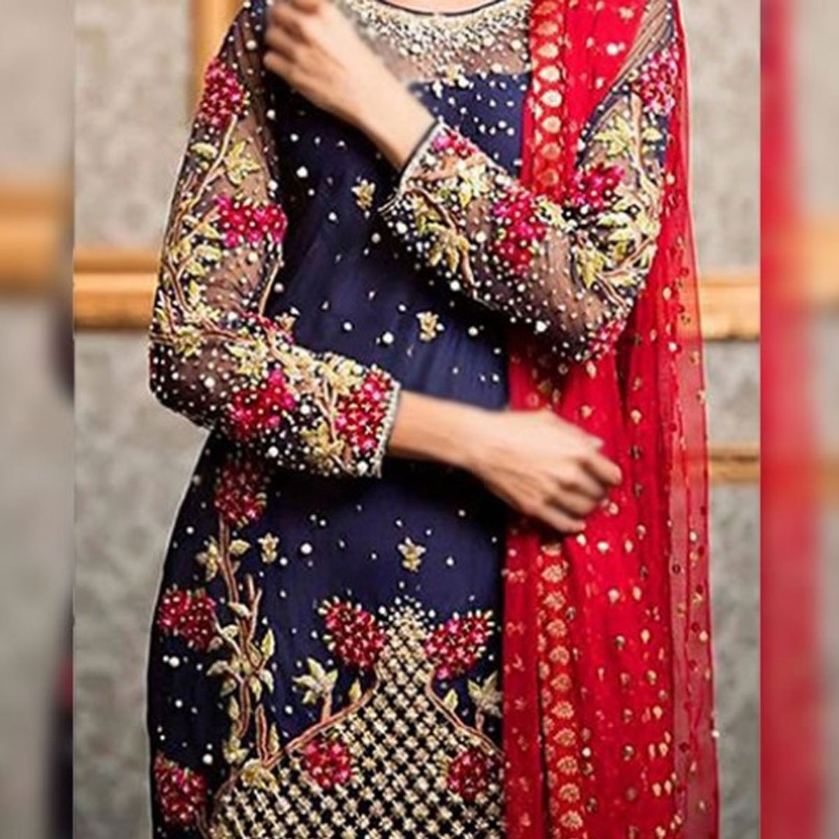 Chiffon Embroidery Designer Suit With CHIFFON Dupatta Unstitched (CHI-129) Gallery Image 1
