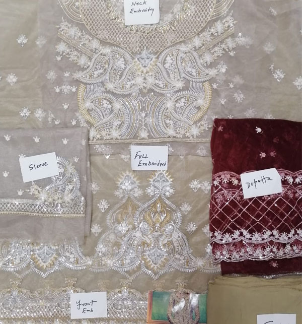 Net Heavy Embroidery Bridal Dress (Unstitched) (CHI-154) Gallery Image 1