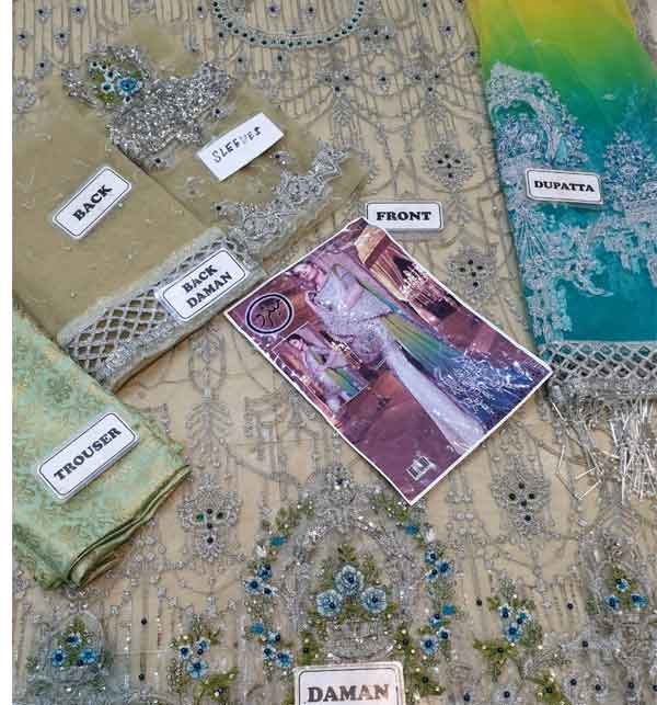 Luxury Net Suit With Heavy Net Embroided Dupatta (Unstitched) (CHi-160) Gallery Image 1