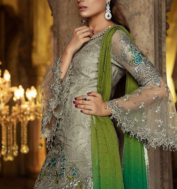 Luxury Net Suit With Heavy Net Embroided Dupatta (Unstitched) (CHi-160) Gallery Image 3