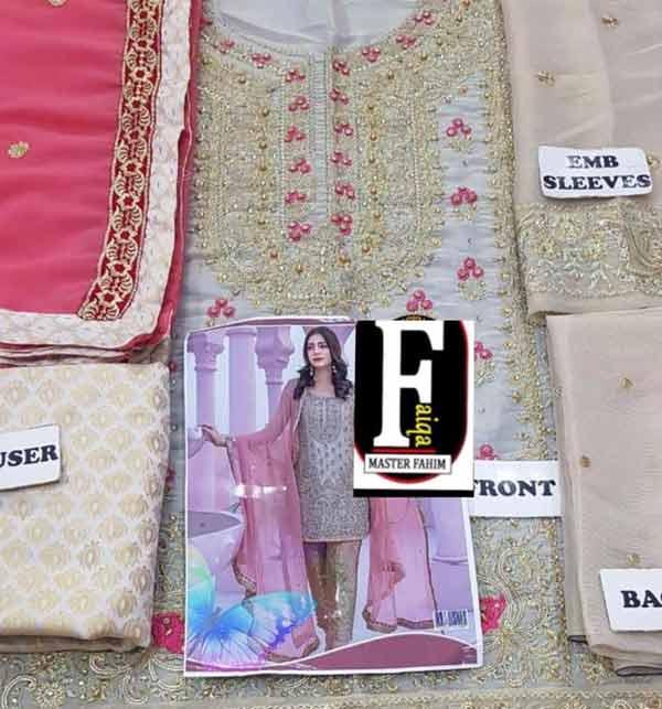 Masoori Dress with Jamawar Trouser & Chiffon Embroidered Dupatta (CHI-248) (Unstitched) Gallery Image 1