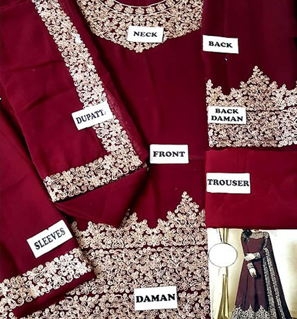 Chiffon Embroidered Maroon Maxi (CHI-250) (Unstitched)  Gallery Image 1