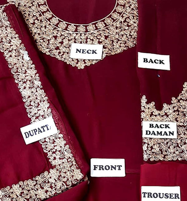 Chiffon Embroidered Maroon Maxi (CHI-250) (Unstitched)  Gallery Image 2
