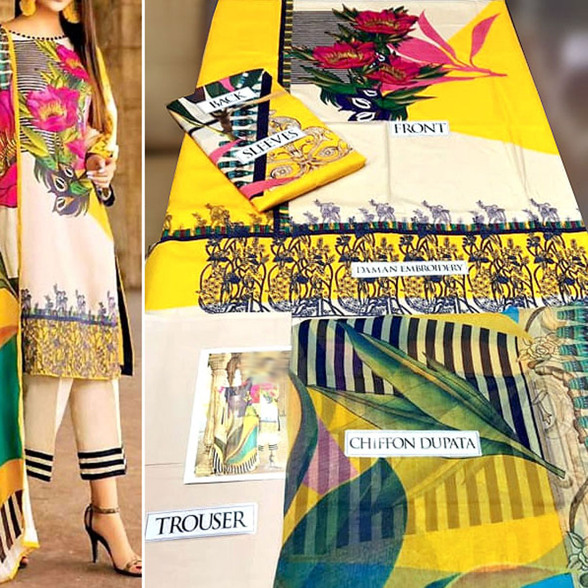 New Vibrant Embroidered Lawn Dress 2020 with Chiffon Dupatta (DRL-264) (Unstitched) Gallery Image 1