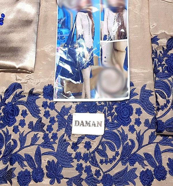 Embroidered SILK Dress with Chiffon Dupatta (CHI-260) (Unstitched) Gallery Image 1