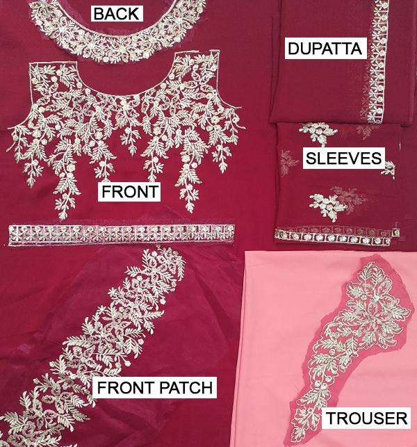 Latest Party Wear Chiffon Embroidered Dress (Unstitched) (CHI-261) Gallery Image 1
