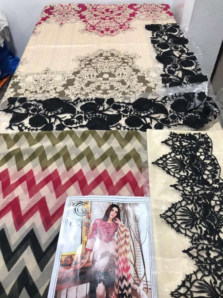 Designer 3PC Lawn Suit With Chiffon Dupatta + Trouser Patch (DRL-285) (Unstitched) Gallery Image 2