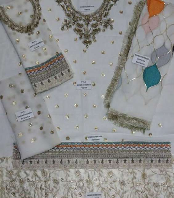 Chiffon Embroidered Suit With Chiffon Embroidered Dupatta  (CHI-266) (Unstitched) Gallery Image 1