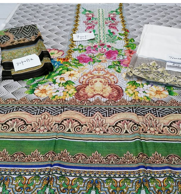 Embroidered Lawn Dress with Chiffon Dupatta (DRL-317) (Unstitched) Gallery Image 2