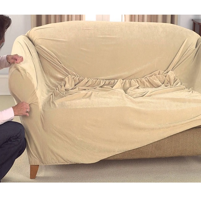 5 seater Jersey Sofa Cover - Camel Gallery Image 1