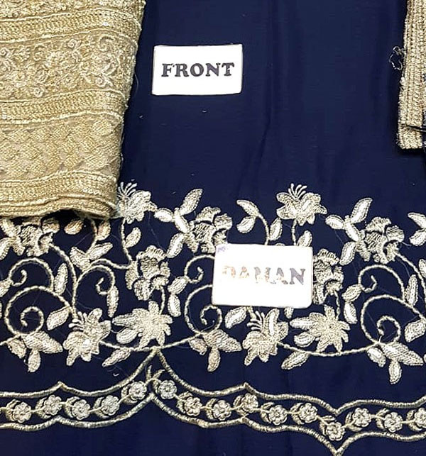 Embroidered Chiffon Suit with Heavy Embroidered Gharara (CHI-276) (Unstitched) Gallery Image 3