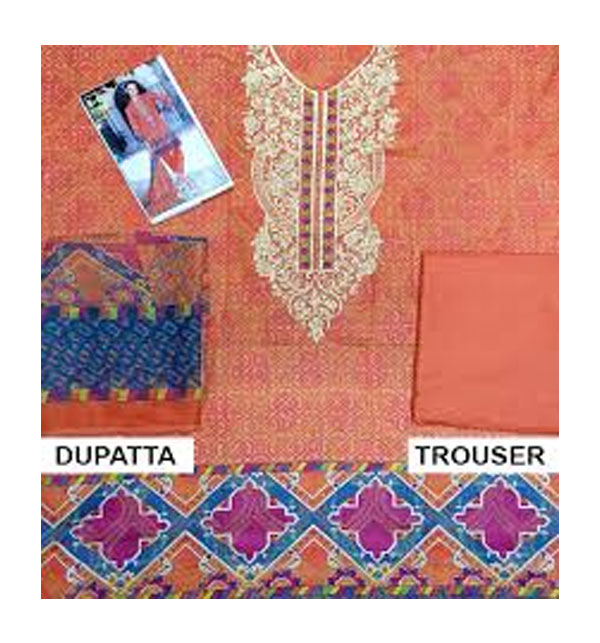 Lawn Embroidered Dress With Chiffon Dupatta (DRL-368) (Unstitched) Gallery Image 1
