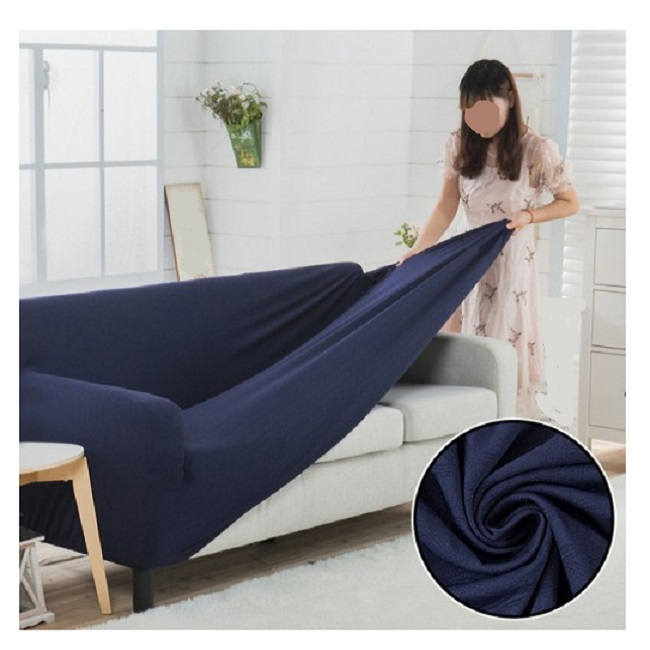 Stretch Fitted Sofa Cover - 7 Seater (3 + 2 + 1 + 1 Seater) Dark Blue Gallery Image 1