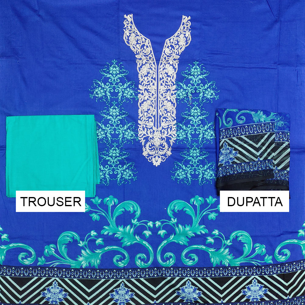 Embroidered Lawn Dress With Chiffon Dupatta (DRL-401) (Unstitched) Gallery Image 1