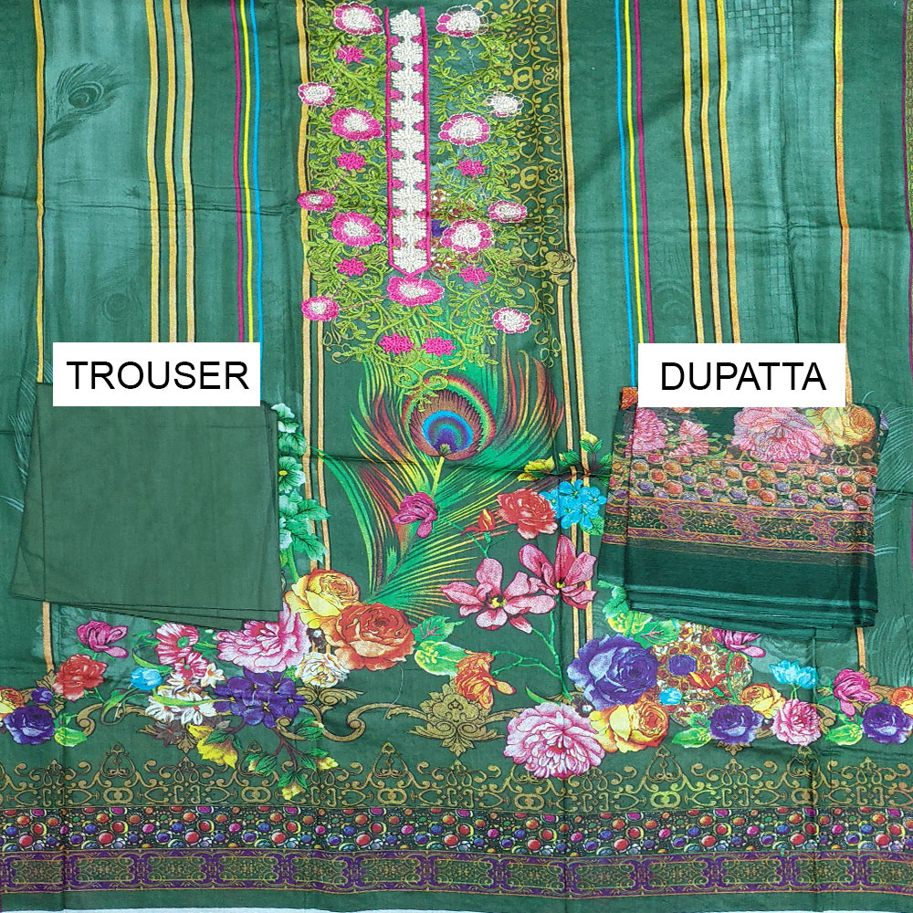 Embroidered Lawn Dress With Chiffon Dupatta (DRL-407) (Unstitched) Gallery Image 1