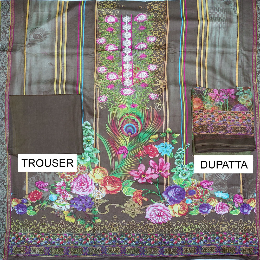 Embroidered Lawn Dress With Chiffon Dupatta (DRL-411) (Unstitched) Gallery Image 1