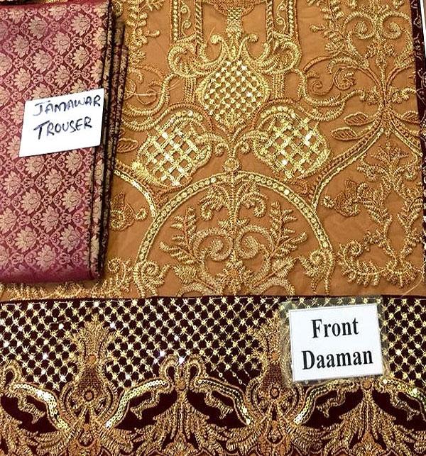 Heavy Embroidered Chiffon Bridal Dress Chiffon Dupatta (CHI-288) (Unstitched) Gallery Image 2