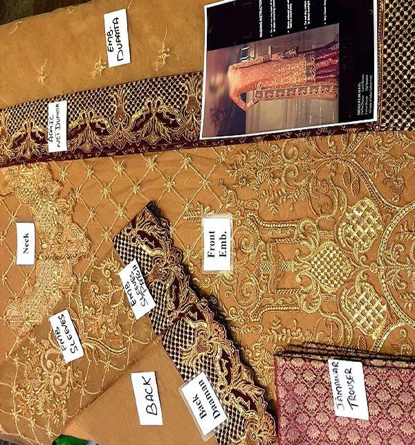 Heavy Embroidered Chiffon Bridal Dress Chiffon Dupatta (CHI-288) (Unstitched) Gallery Image 3