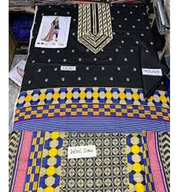 Khaddar Embroidery Black Suit With Wool Shawl Dupatta (Unstitched) (KD-38) Gallery Image 1