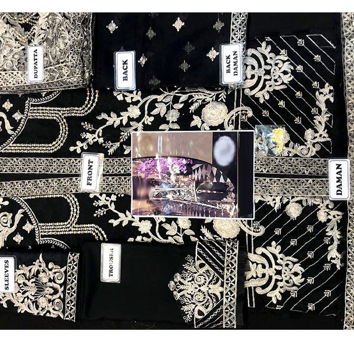 New Organza Fully Heavy Embroidered Suit With Net Embroidered Dupatta (Unstitched) (CHI-291) Gallery Image 1