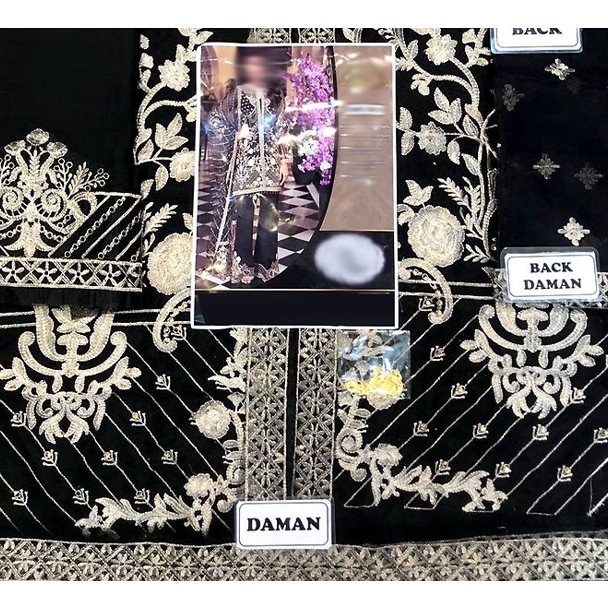 New Organza Fully Heavy Embroidered Suit With Net Embroidered Dupatta (Unstitched) (CHI-291) Gallery Image 3
