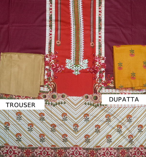 LINEN Embroidery Suit With Wool Shawl Duppata (Unstitched) (LN-68) Gallery Image 1