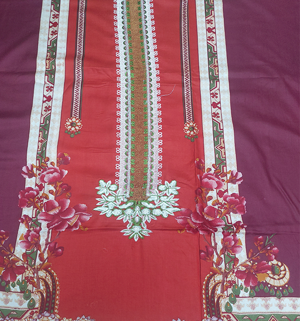LINEN Embroidery Suit With Wool Shawl Duppata (Unstitched) (LN-68) Gallery Image 2