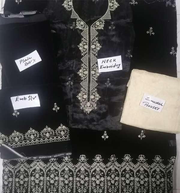 Black Embroidered Velvet Suit With Brosha Net Dupatta UnStitched (CHI-293) Gallery Image 1