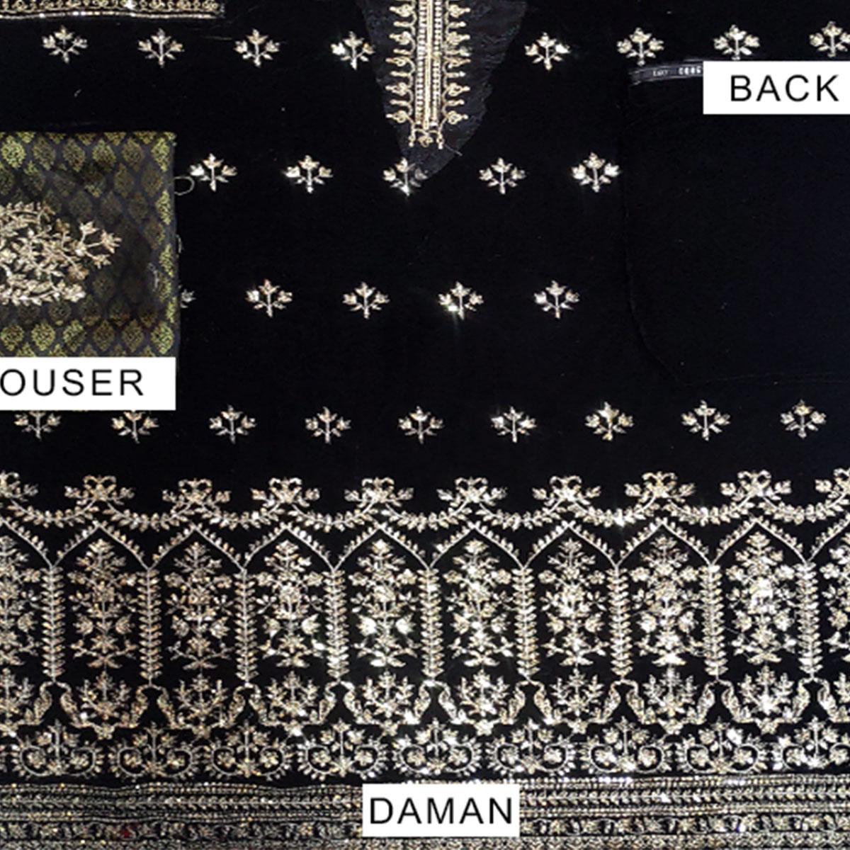 Black Embroidered Velvet Suit With Brosha Net Dupatta UnStitched (CHI-293) Gallery Image 2