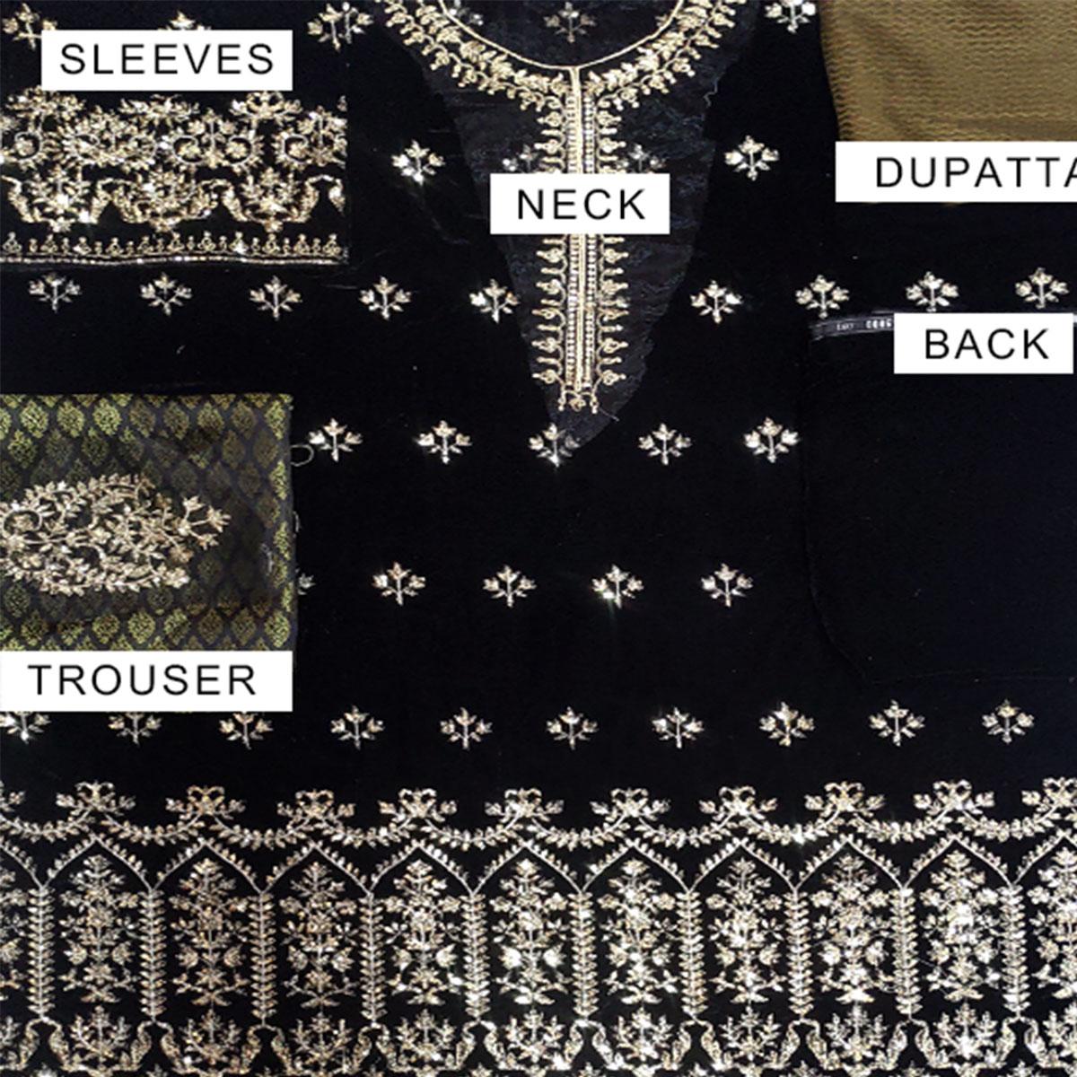 Black Embroidered Velvet Suit With Brosha Net Dupatta UnStitched (CHI-293) Gallery Image 3