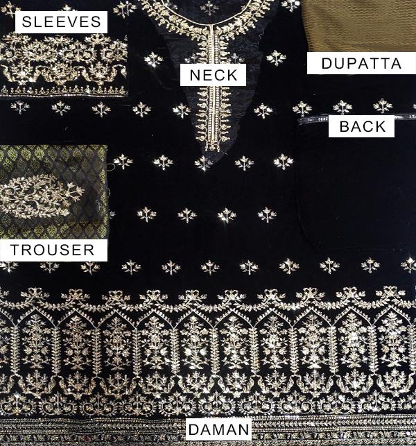 Black Embroidered Velvet Suit With Brosha Net Dupatta UnStitched (CHI-293) Gallery Image 4