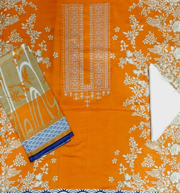 LINEN Embroidery Dress with Linen Dupatta (Unstitched) (LN-71) Gallery Image 1