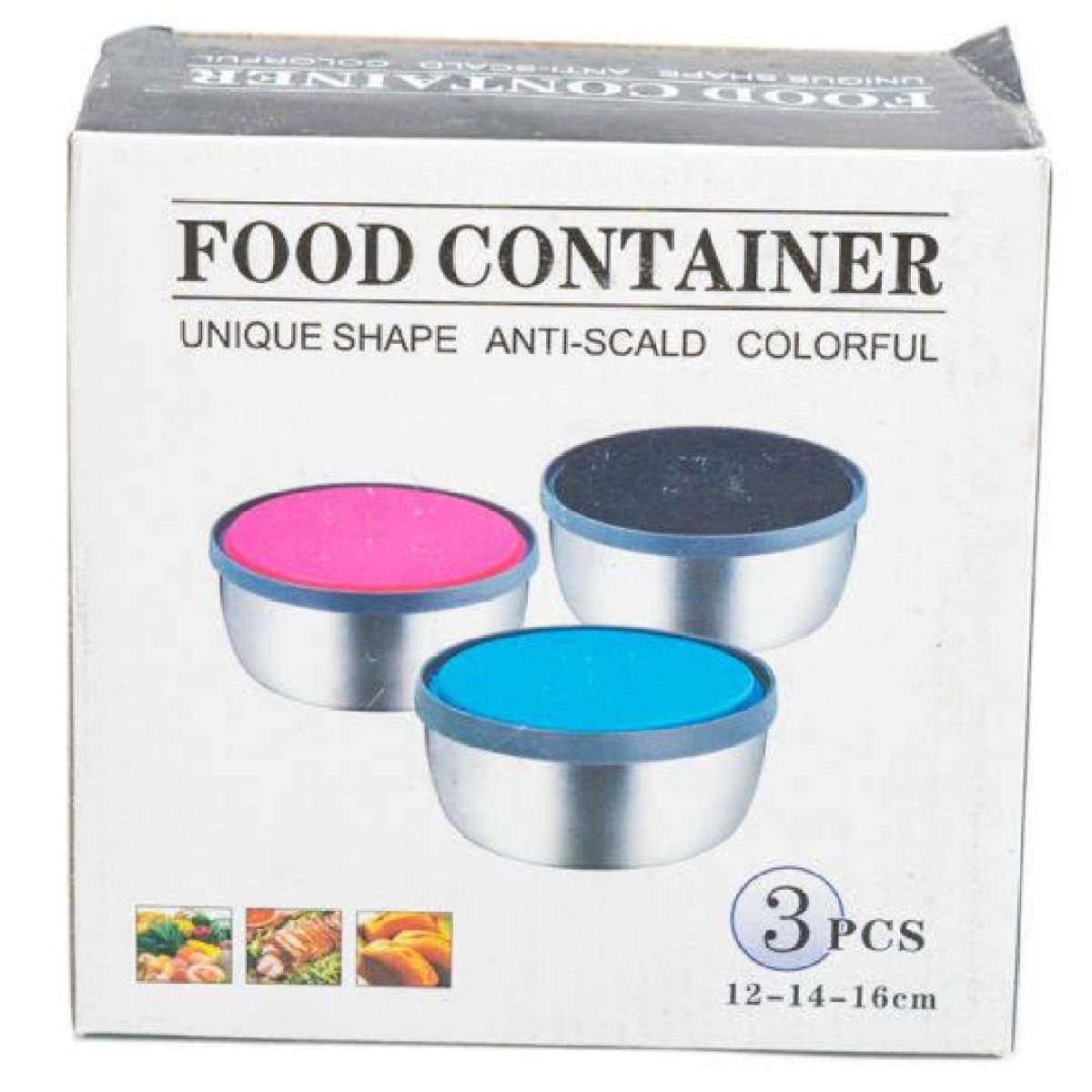 3 Pcs Stainless Steel Food Cantainer Colorful Fresh Keeping Box Gallery Image 1