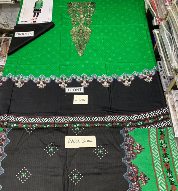 Linen Embroidered Suits With Wool Shawl Unstitched (LN-81) Gallery Image 1