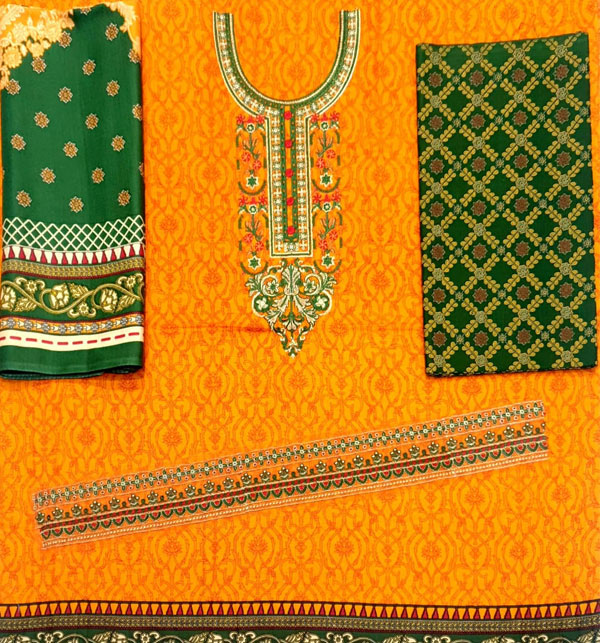 Khaddar Embroidered Suit with Wool Shawl Dupatta (Unstitched) (KD-49) Gallery Image 2