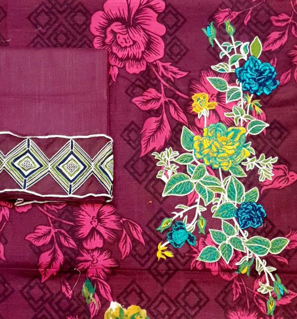 Khaddar Embroidered Suit with Wool Shawl Dupatta (Unstitched) (KD-54) Gallery Image 2