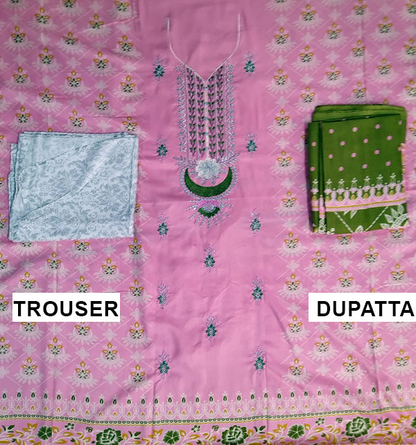 Linen Light Pink Suit With Wool Shawl Printed Trouser (Unstitched) (LN-108) Gallery Image 1