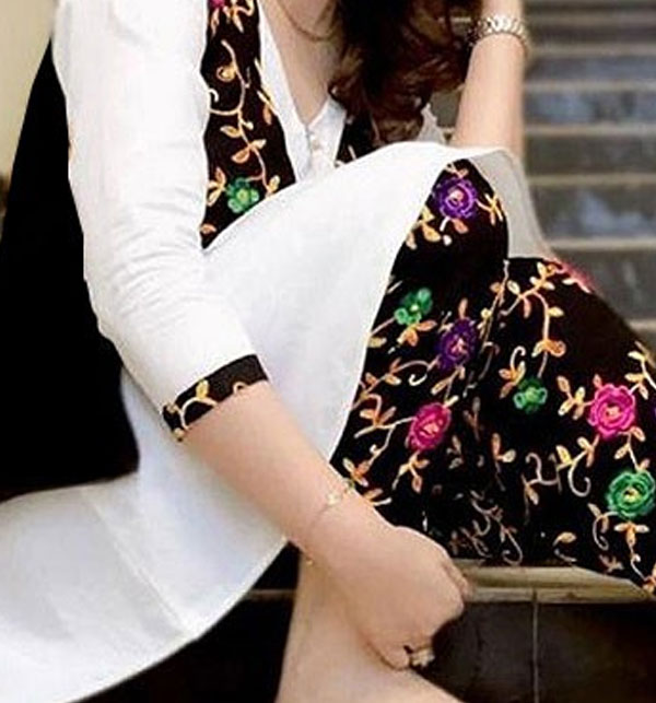 2-Pcs Embroidered Linen Suit with Embroidered Trouser (Unstitched) (LN-112) Gallery Image 1
