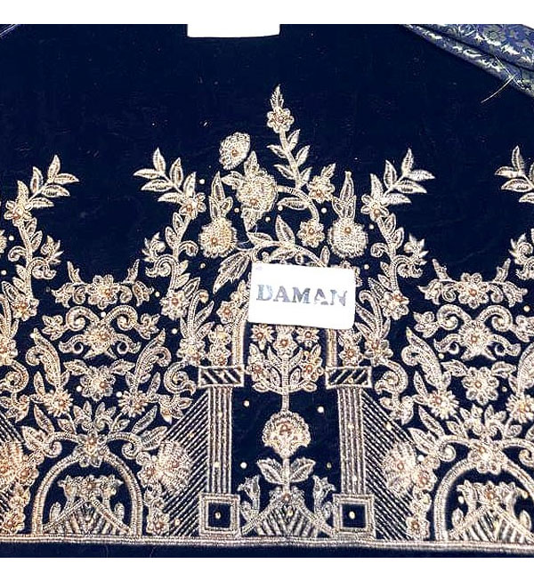 Heavy Embroidered Navy Blue Velvet Dress Unstitched (CHI-313) Gallery Image 3