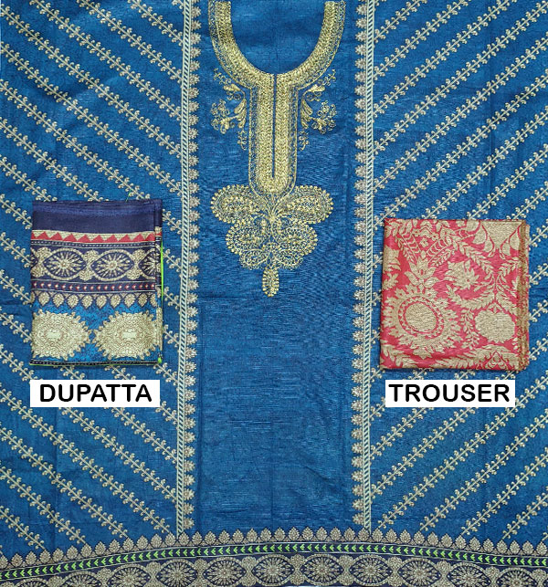 Winter Khaddar Embroidery Dress 2019 2020 With Wool Dupatta (KD-73) (UnStitched) Gallery Image 1