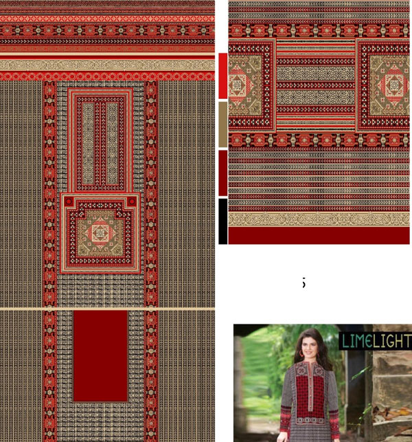 Agrak Design Khadder Embroidered Suit with Wool Dupatta (KD-80) (UnStitched) Gallery Image 1